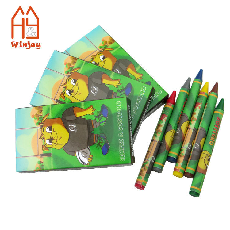 Custom professional Non-Toxic 6 pack crayon set,promotional crayons for drawing and arts.