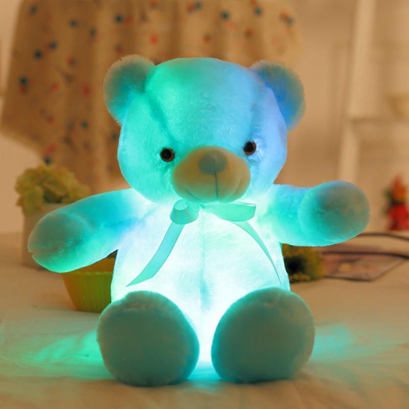 Night New Design Cute Up Stuffed Animals Toy Colorful Led Custom Plush Talking Grey Electric Minky Light Brown Teddy Bear