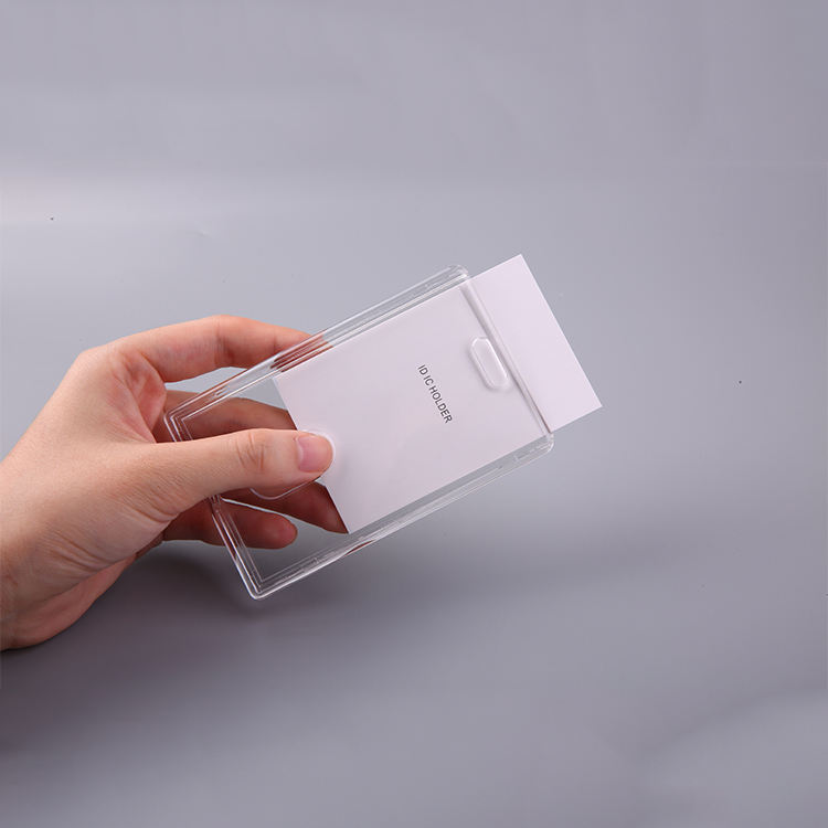 QORI Transparent acrylic business id card holder block table retractable id card holder