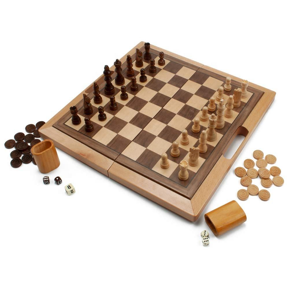 classic vintage wooden chess case backgammon checkers table board set 3 in 1