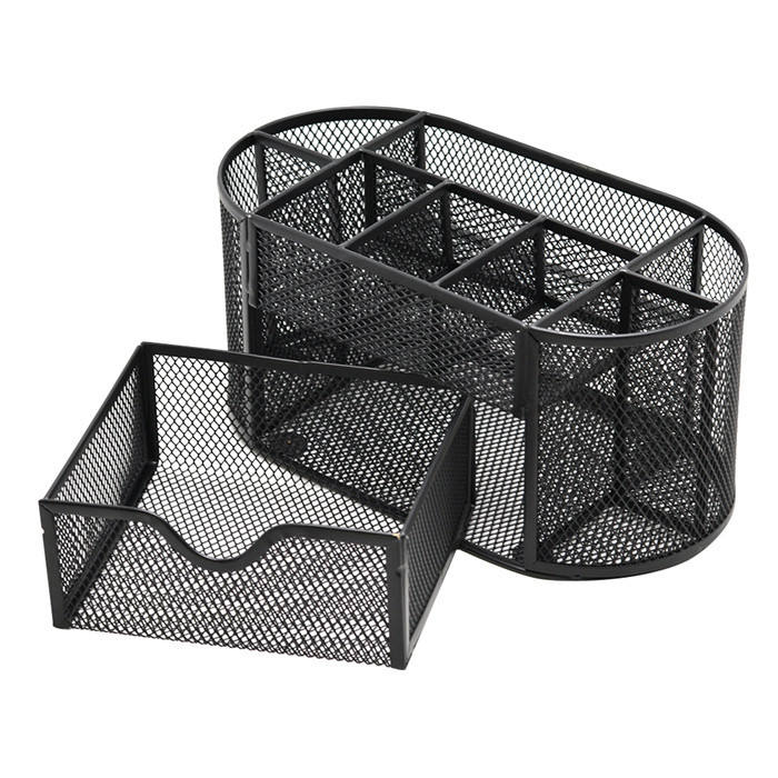Office Desk Organizer and Accessories, Mesh Desk Organizer with 8 Compartments + Drawer