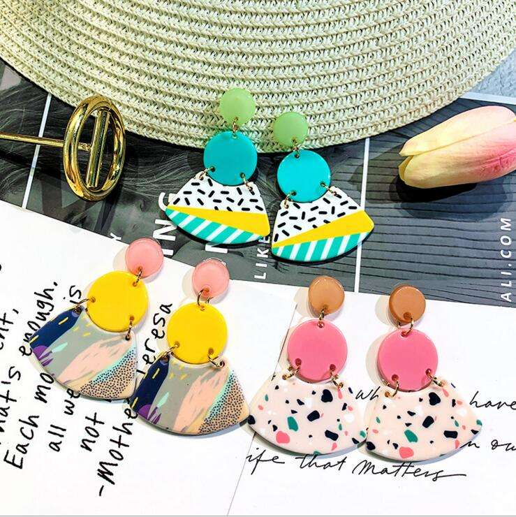 wholesale 2019 newest drsign artificial polymer clay earrings fashion colorful geometric acrylic drop earrings