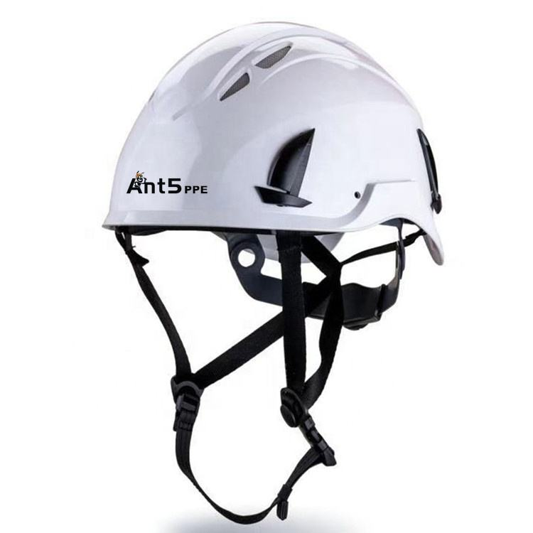 ANT5 Safety Helmet with adjustable and removable earmuffs, plastic visor, and mesh visor