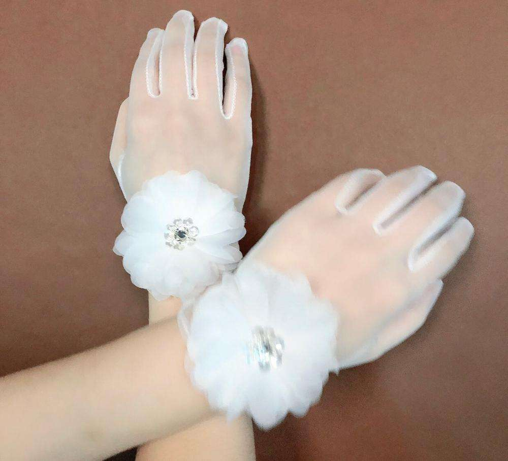 ladies lace flower short sexy handmade wedding bride gloves