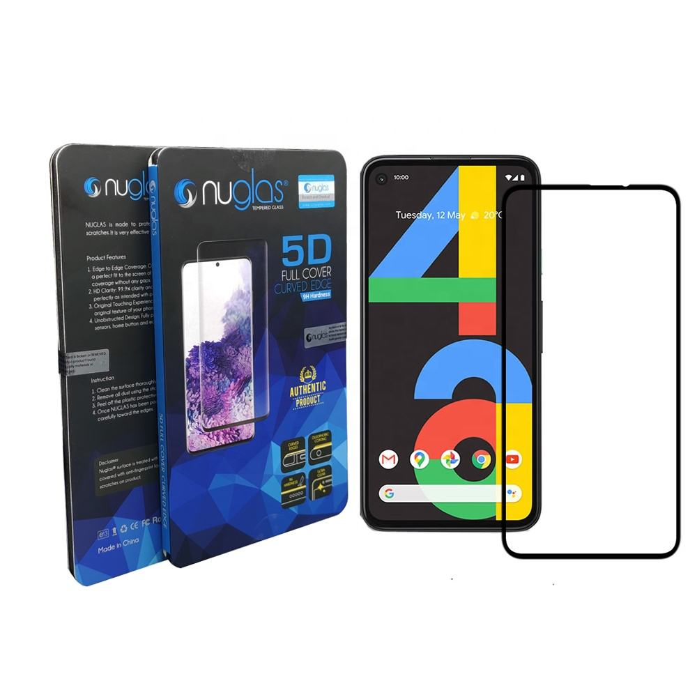 Nuglas 9H silkprint full cover no bubble premium tempered glass film for Google Pixel 4a screen protector