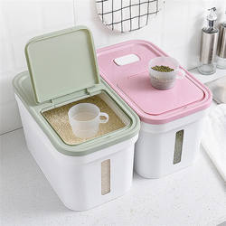 Hot selling plastic rice container cereal dispenser dry food high quality kitchen storage box with lid and scale range