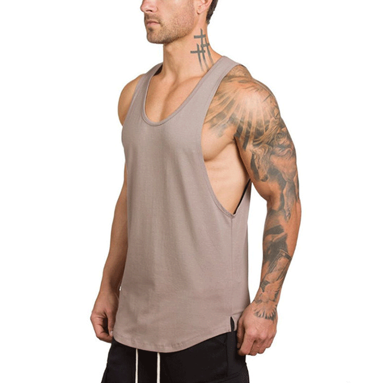 Cotton Muscle Stringer Custom Printing Beige Men Fitness Bodybuilding Gym Tank Top