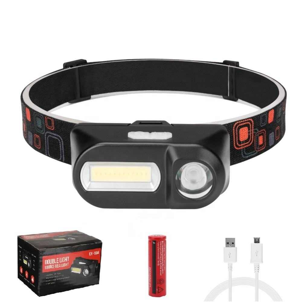 Dual-Switch USB Rechargeable Headlight 7 Modes 3W COB LED Headlamp Waterproof Head Flashlight Torch for Bicycle Night Running