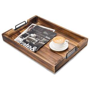 Rustic Wood Coffee Table Ottoman Serving Tray Large Wood Food Tea Coffee Serving Trays for Parties Wooden Ottoman Tray
