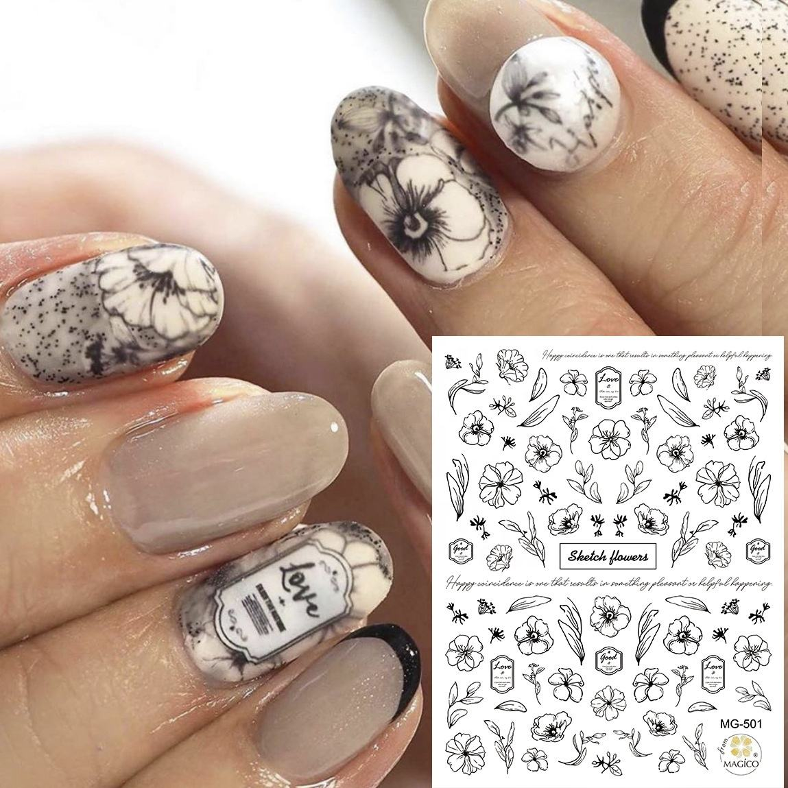 Paso Sico 40 Options Self Adhesive Colorful Flower Leaf Plants Heart Star Animal Nail Art Sticker Decals