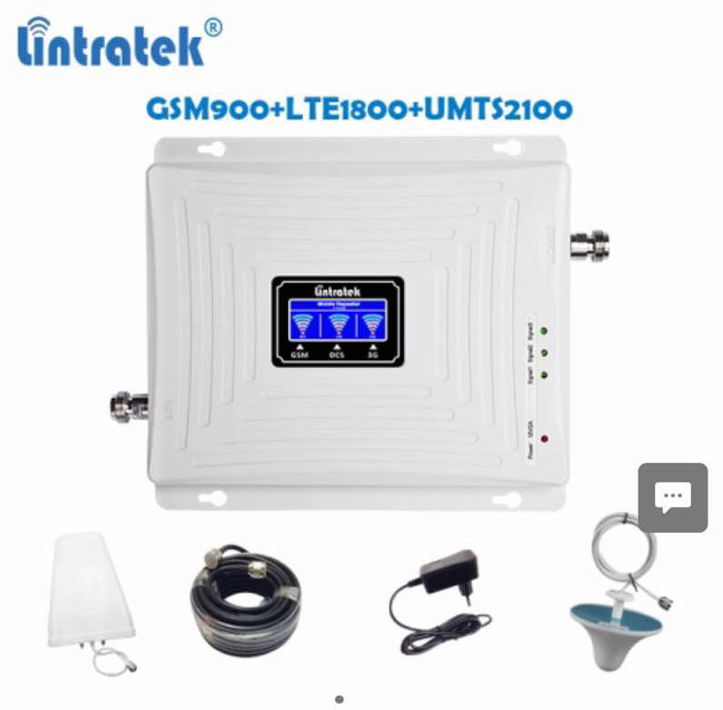 Lintratek Full Kit Triple band 900/1800/2100mhz Repeater 2G 3G 4G Amplifier GSM900 LTE1800 UMTS2100 Network Signal Booster Set