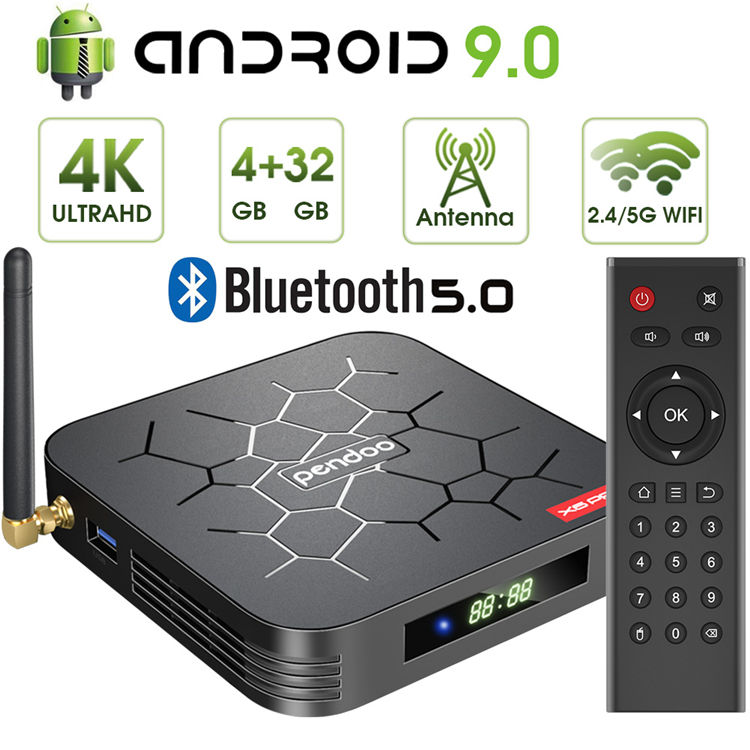 Tv box 2019 Pendoo X6 Pro android 9.0 tv box Allwinner H6 Android 2GB 16GB smart android box with antenna wifi