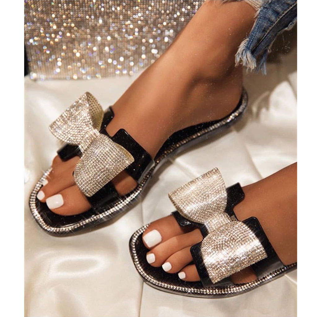 Summer Famous Slippers Women Slides Flat Bling Rhinestone Bow Jelly Sandals