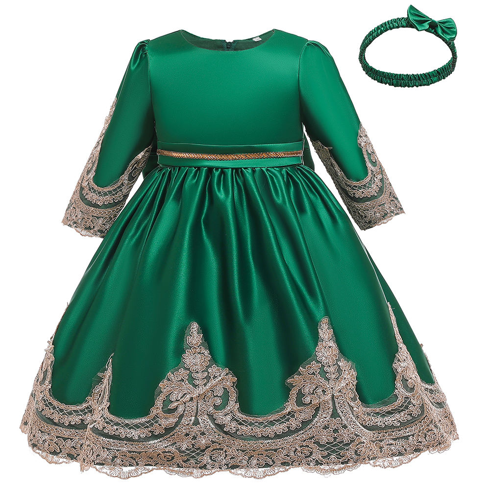 Net Frock Designs Girls' Clothing Newborn Baby Lace Long Sleeves Kids Party Wear Baptism Dress L5180