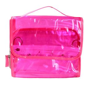 Pink clear pvc waterproof candy wash bag hanging with hook multi pocket big jelly pouch makeup transparent cosmetic bag travel