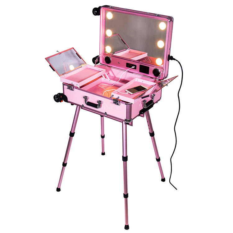 Handheld cosmetic bag drawer makeup trolley case LED lights trolley make up case foldable stand