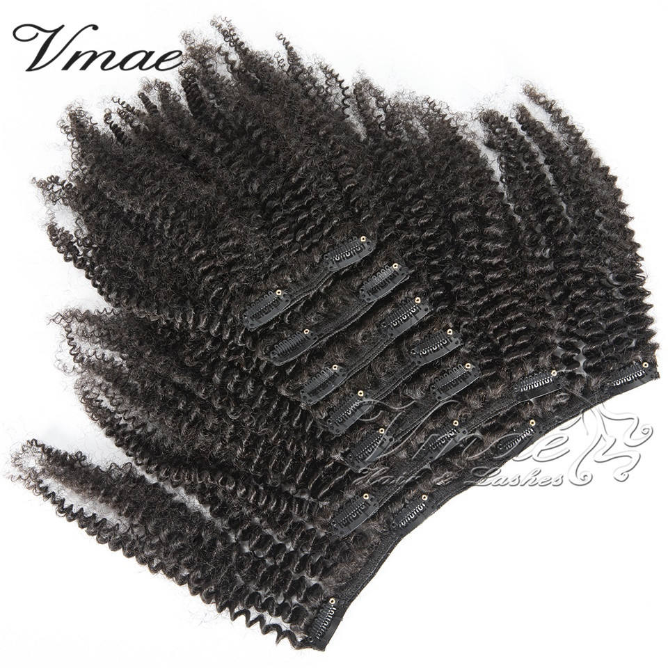 VMAE Best Quality Mongolian Raw Virgin Natural Black 100g 120g Natural Black Afro Kinky Curly Clip In Extension Human Hair