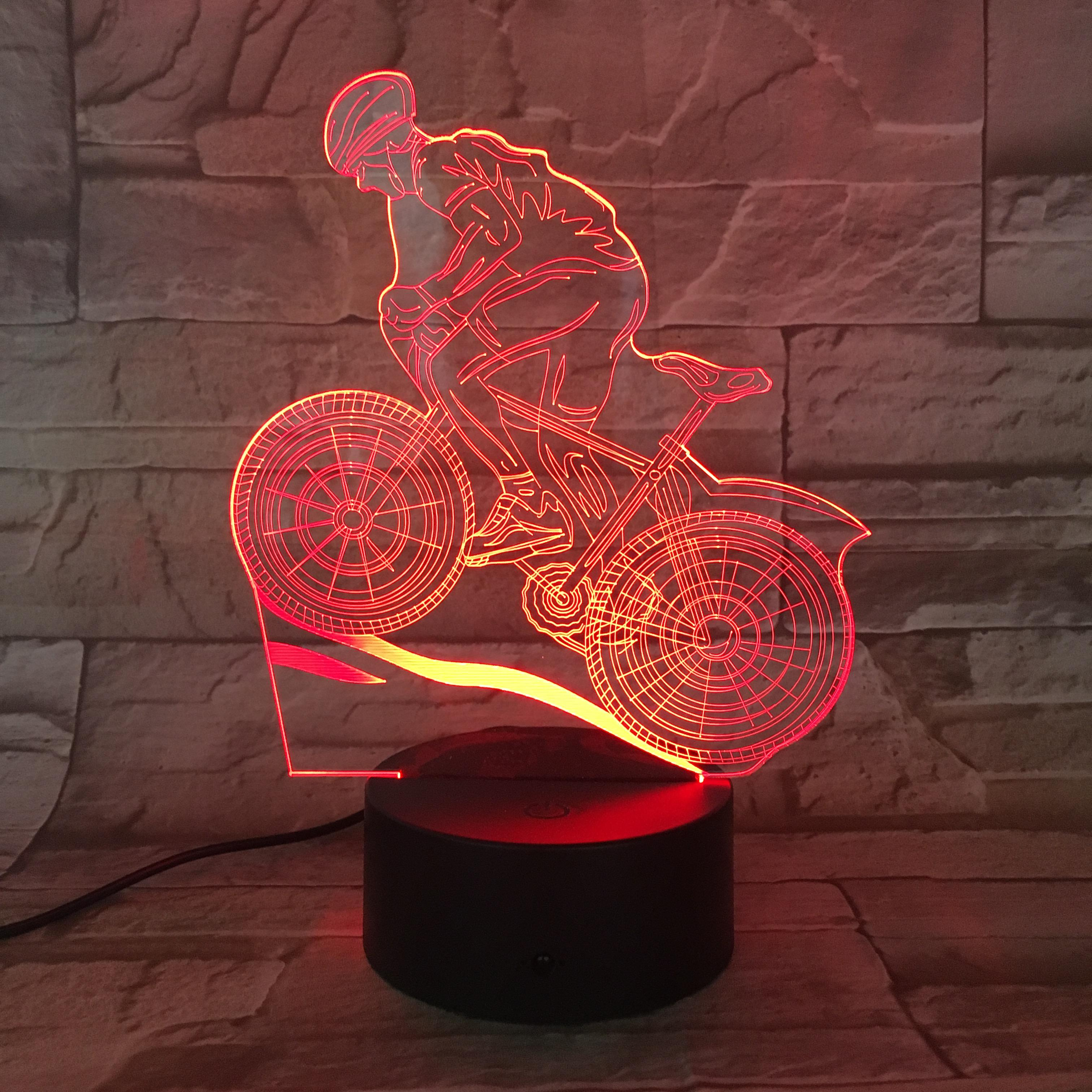 Hot Selling Sport Gifts Souvenirs Downhill Mountain Biking 3D Illusion Lamp Colour Change LED Night Light Bedroom Deco Light