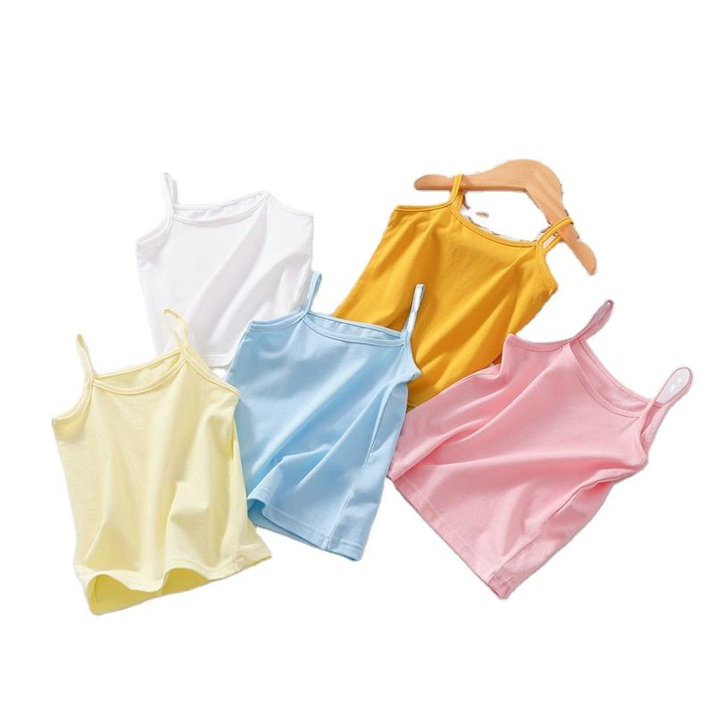 Children Singlet Tops Undershirt for 4-12 Years Kids Underwear Solid 100% Cotton Girls Tops Candy Color Girls Vest