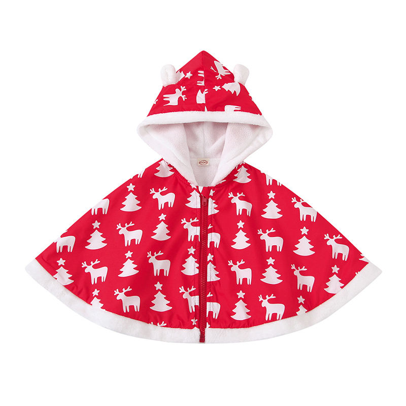 Red color deer print hooded lovely kids boutique clothing baby girls christmas cloak