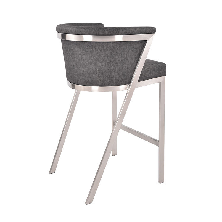 Customized Leather Counter Gray High Furniture Barstool High Back Bar Stool