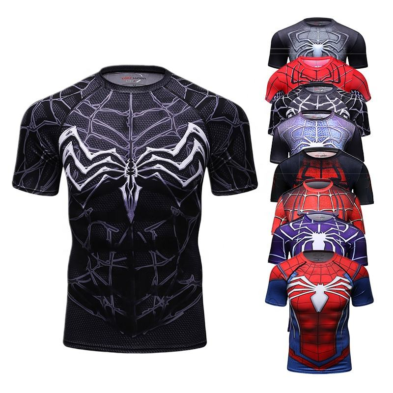 Guangzhou 2018 Polyester Spandex Sport Shirts 3D Anime Superhero Spiderman Captain Printed T-Shirt