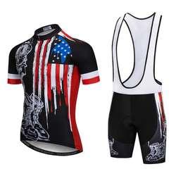USA Cycling Jersey Sets Men Ropa Ciclismo Pro Mountain Bike Bicicleta Short Sleeve Summer MTB Bicycle Clothing Gel Pad Shorts