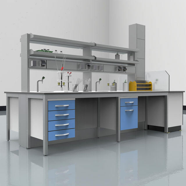 High Quality Chemistry Laboratory Steel And Wooden Central Island Work Table, Customized Lab Furniture Wall Bench With Drawers/