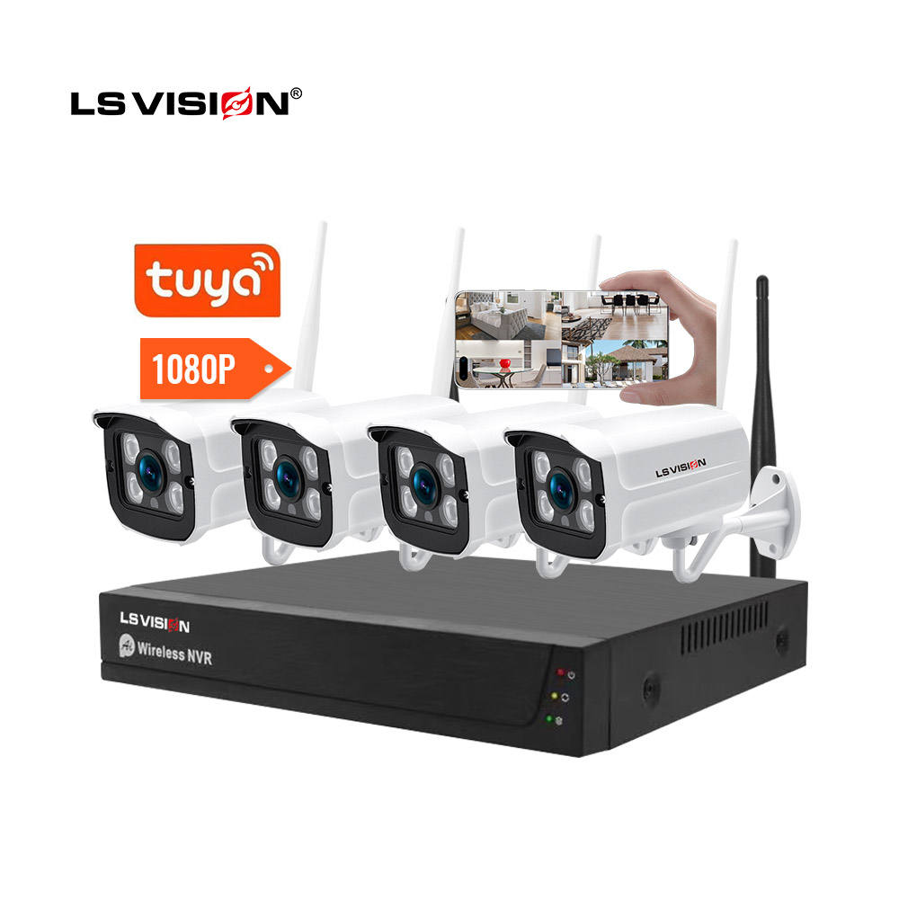 AI tuya nvr 4ch 8ch cctv home security p2p 1080P 2MP 4 8 channel wifi wireless nvr camera system kit