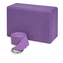 Yoga block and Yoga belt combo set with 1 block and 1 belt