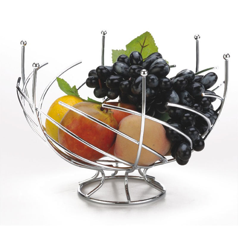 Stainless steel Metal Basket hanger chrome plate rack wire steel fruit bowl rotating