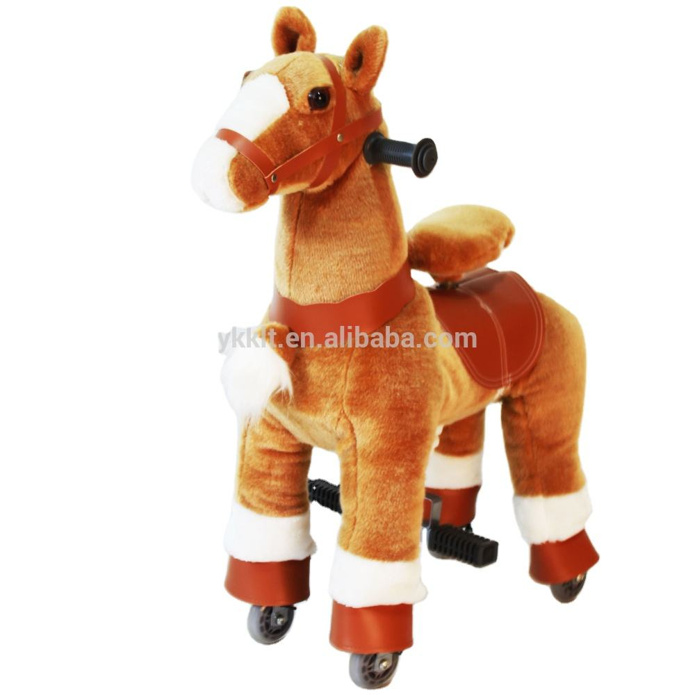 Ponyfunny Small Plush Horse toy Scooter Toy for 3 - 8 Boys&Girls Plush Animal Rocker Toddler Child Stuffed Ride Toy