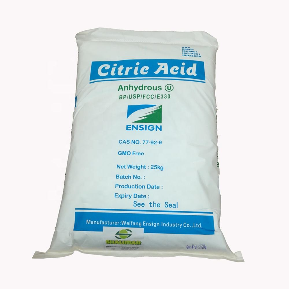 Food grade fine crystal powder Weifang Ensign brand Citric acid anhydrous 30-100mesh