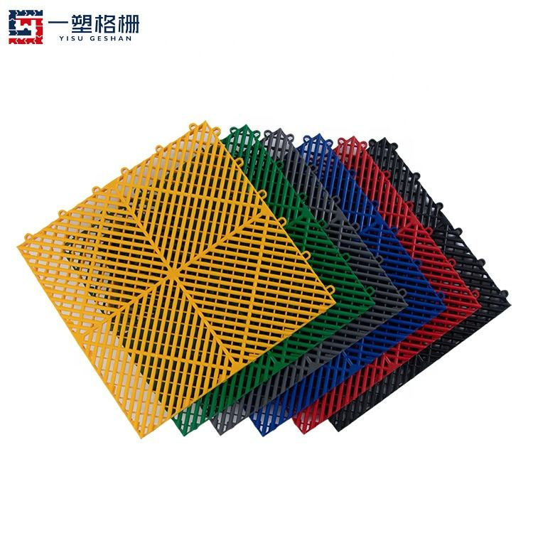 400*400*18mm for carwash grille anti slip interlocking garage floor tiles removable plastic car wash floor grating mats