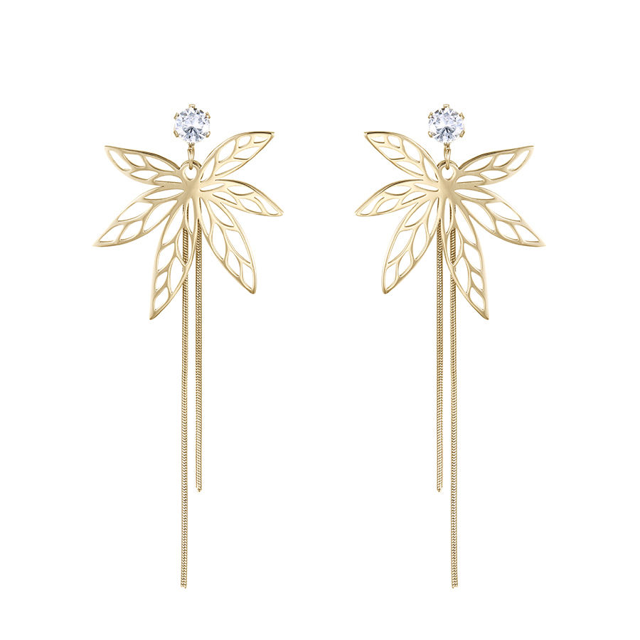 E-929 xuping fashion stainless steel jewelry 14 karat gold color leaf style long earrings for women