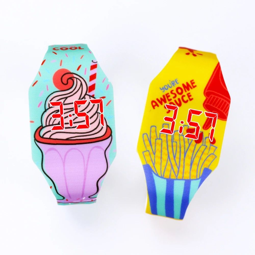 New Cartoon Food Pattern Luminous Child Watches For Girl Kids Student Electronic Watch Clock Reloj Infantil ice cream LED Watch