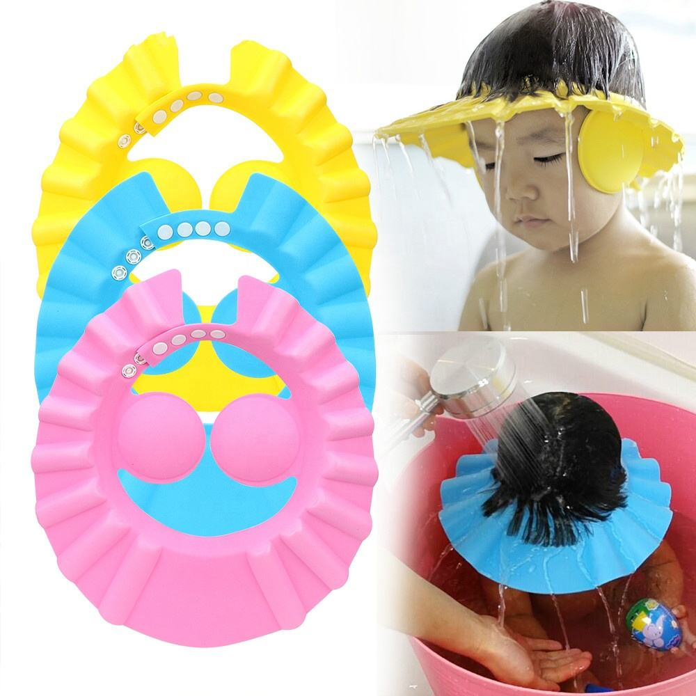 Wholesale cheap creative ear protection children baby shower adjustable soft shower cap