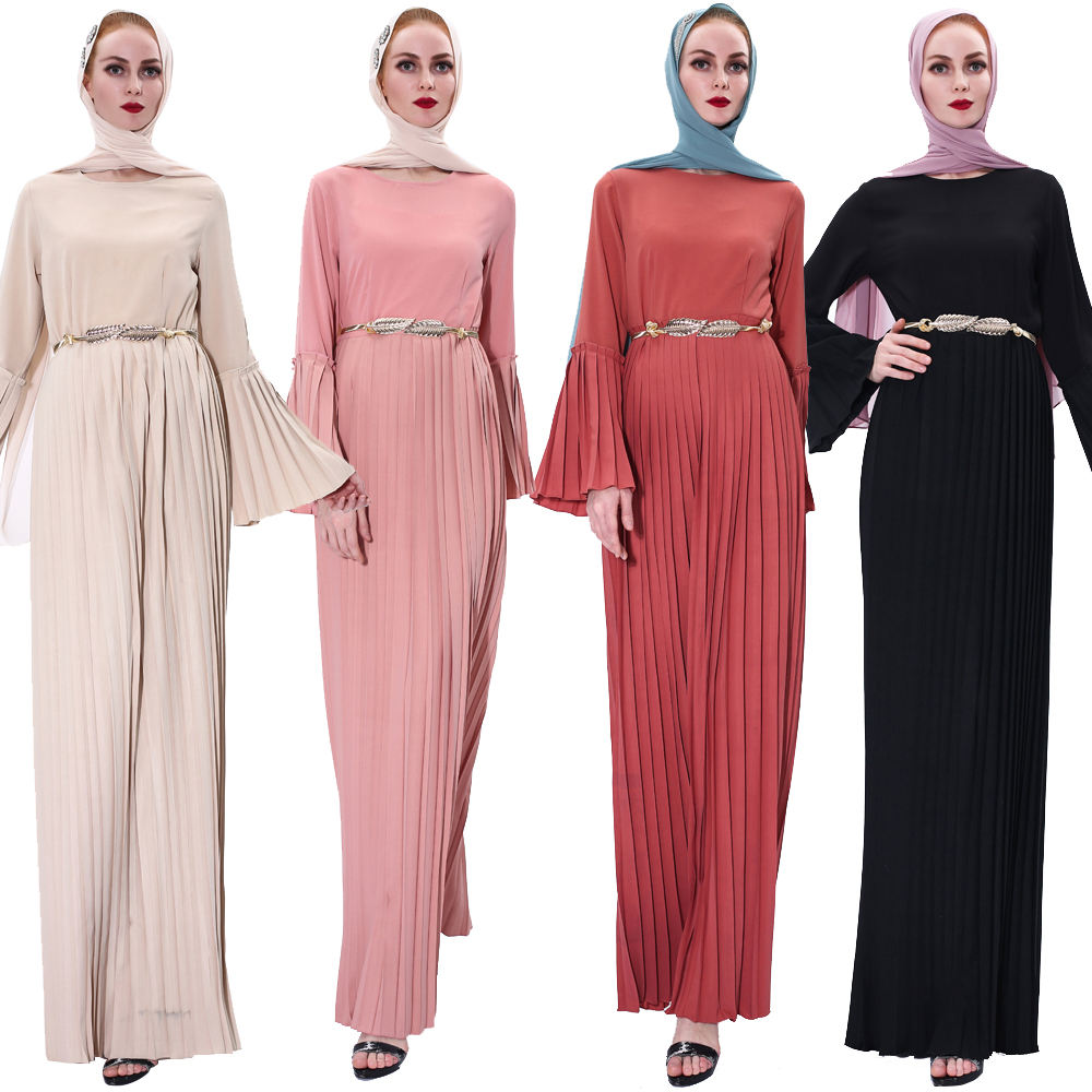 New islamic clothing 2020 Ramadan pleated black muslim dress flared sleeves abayas for women muslim