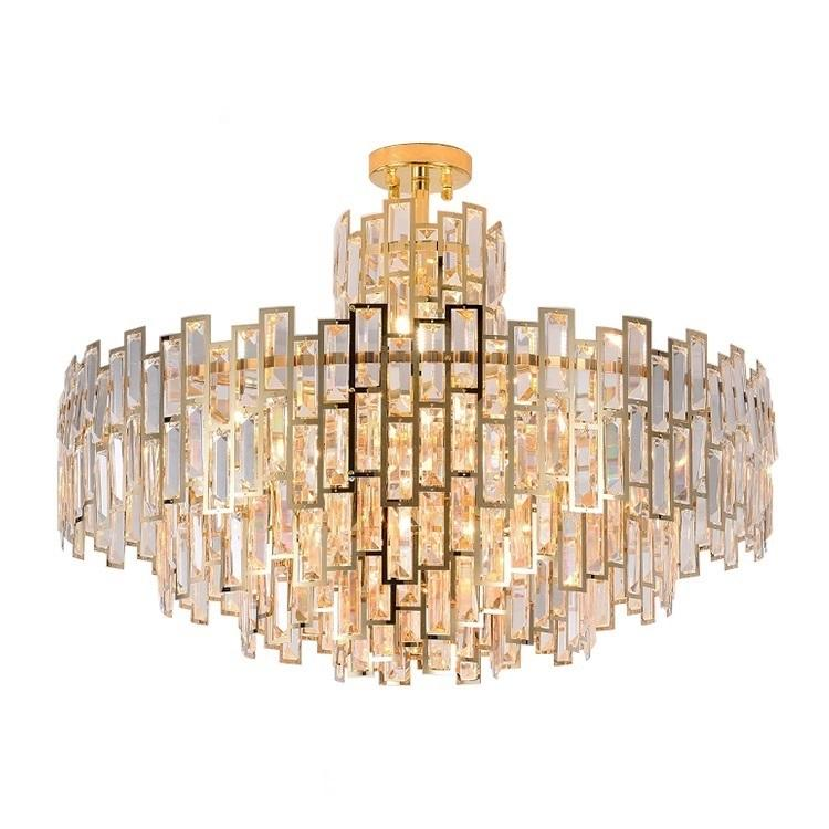 Classic Gold Crystal Hotel Moderne Luxe Opknoping LED Hanglamp Kroonluchter