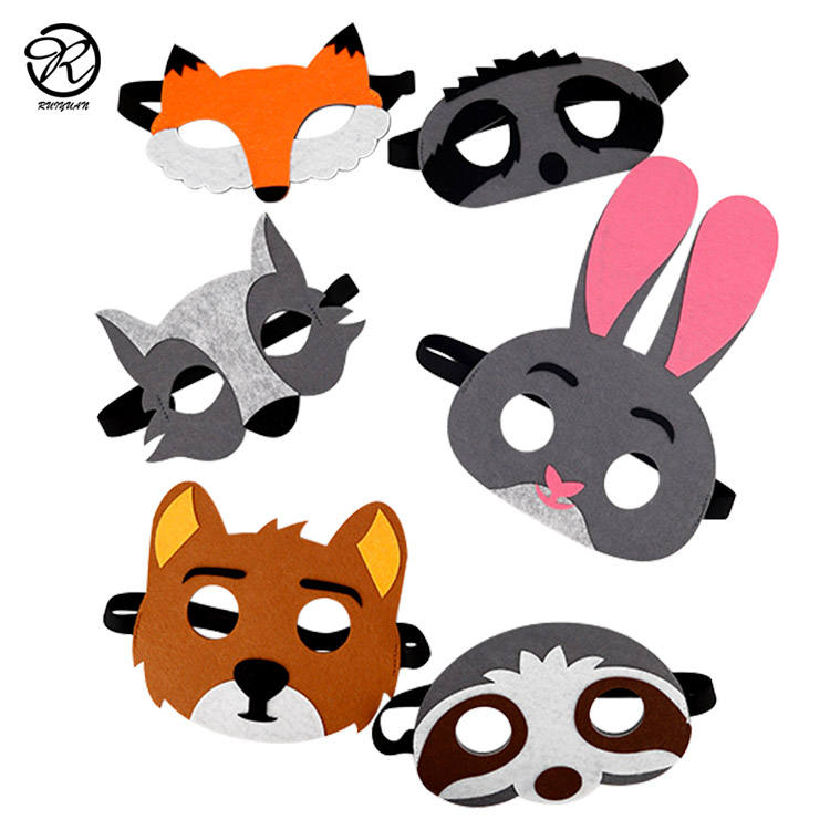 Jungle Animal Felt Masks Wild Animal Theme Birthday Party Favors Kids Costumes Dress-Up Party Supplies