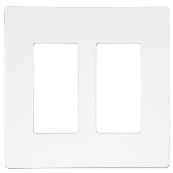 Shanghai Linsky 2-Gang Screwless Decorator Switch/Outlet Wall Plate - White