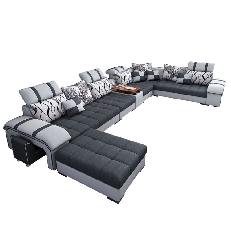 Furniture Factory Provided Technology Cloth Sectionals Sofa Bed Sofa Set U Shaped 7 Seater Living Room Sofa