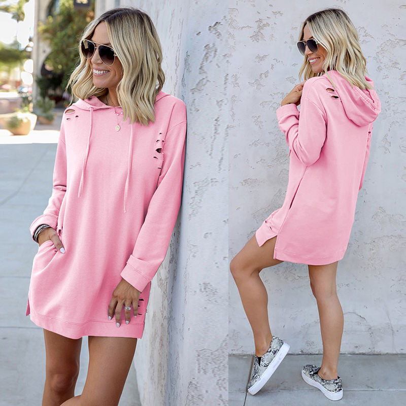 2020 Custom Casual Pullover Hoodie Autumn Short Mini Hooded Sweatshirt Dress Women