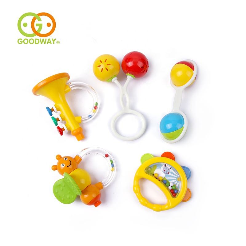 non-toxic plastic cute 5pcs set musical baby rattle toys for hand grab development