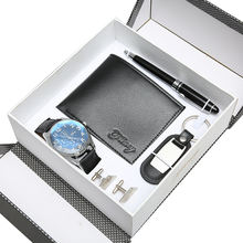 Drop shipping low moq wallet / keychain / cufflinks / watch / pen 5 pcs Christmas/Valentine's Day gift sets