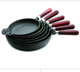 cast iron cookeware frying pans round with wood handle fry pans stove skillet casting kitchen utensils