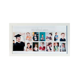 School Years Picture Day Collage Frame in Elegant Brown Natural Wood, Photos from Kindergarten to Graduation