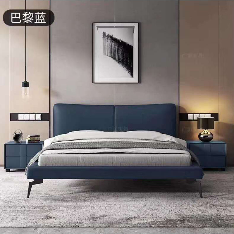 Good quality luxury solid wood leather bed home leather bed