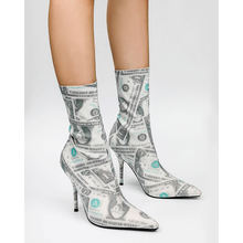 Printed US Dollars Pointed Toe Stiletto Elastic Boots Women's High Heel Short Sock Boots