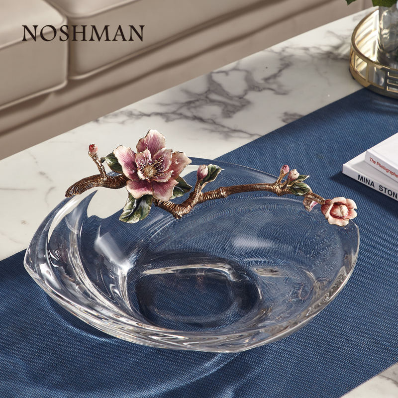 NOSHMAN Best Gift Wholesale 13inch Creative Handcraft Flower Latest Glass Tray Dish Bowl Enamel Crystal Glass Fruit Plate